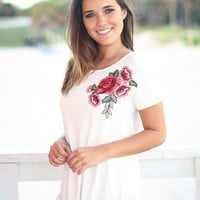 Off White Top with Embroidered Flower