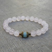 Healing and Positivity - Genuine Rose Quartz and Amazonite Guru Bead