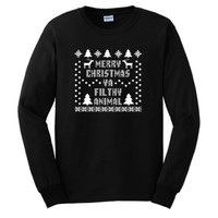 Merry Christmas Ya Filthy Animal Long Sleeve T-Shirt Ugly Fake Immitation Knit Sweater Home Alone U