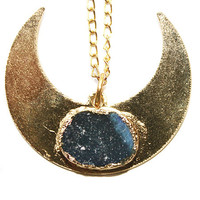 Gold Plated Druzy Half Moon Pendant Necklace