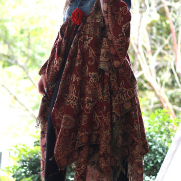 Gypsy fall tapestry coat, Boho fall jacket, Boho clothes, Bohemian denim autumn duster, music festival kimono jacket, True rebel clothing SM