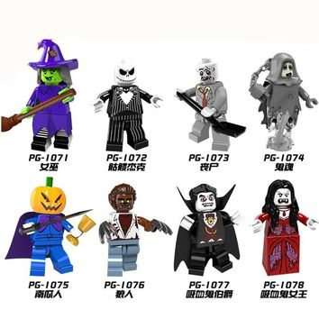 PG8080 Halloween The Horror Theme Movie Vampire Count Zombie Queen Akasha Jack Skellington Building Blocks Kids Toy