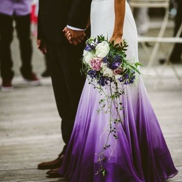 Mermaid Chiffon Purple Beach Wedding Dresses Ruched Lace Accents Bridal Gowns M2520
