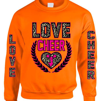 Love Cheer Leopard womens Sweatshirts