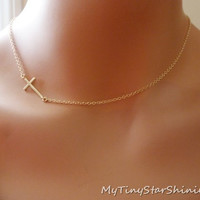 Sideways Cross Necklace in Gold filled side ways cross Matte Cross Necklace Christian cross Gold Necklace