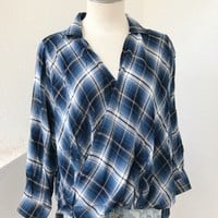 APRIL OVERLAP FLANNEL - BLUE