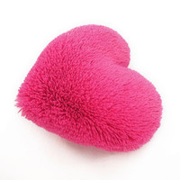 Fluffy Hot Pink Heart Shaped Decorative Pillow Classic Size