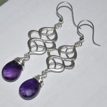 Amethyst Earrings, Dangle Earrings, Wire wrapped, Teardrop Earrings, Sterling Silver, Gemstone Earrings, Drop,Chandelier