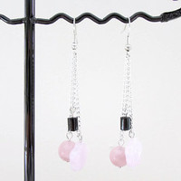 Rose quartz earrings, semi precious gemstone chain earrings, rose quartz and hematite, day wear earrings, handmade in the UK