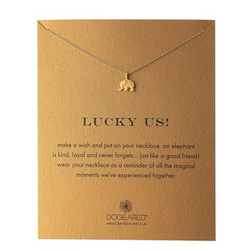 dogeared - lucky us elephant reminder necklace