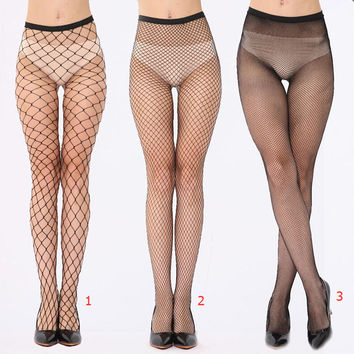 Female Fish Net Pantyhose Black Mesh Lingerie Sheer Tights Women Ladies Sexy Fishnet Stockings +Free Gift Necklace