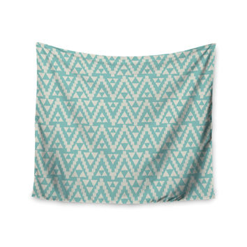 "Amanda Lane ""Geo Tribal Turquoise Sky"" Teal Aztec Wall Tapestry"