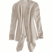AE Open Waterfall Cardigan, Black | American Eagle Outfitters
