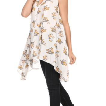Choker Floral Sharkbite Tunic Dress