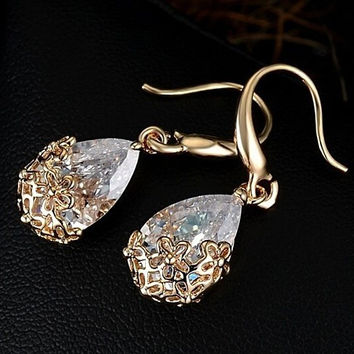 *** On Sale *** Infused Diamond Dust Dangling Earrings