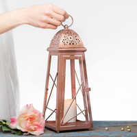 13 inch Rose Gold Effect Moroccan Lantern/ Arabic Candle Holder/ Pink Gold Wedding Lanterns/ Metal Candle Holder/ Moroccan Decor