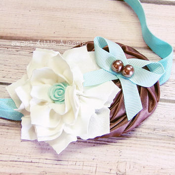 Brown Ivory Aqua Headband, Flower Girl Headband, Elegant Baby Headband, Bows for Infants, Toddler Girl Hair Clip, Fancy Newborn Photo Prop