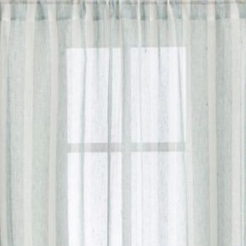 Teal Linen Stripe 48x108 Curtain Panel