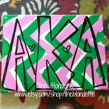 Alpha Kappa Alpha Chevron. 9 inch x 12 inch canvas A Chi O. Sorority. Chevron. Red. Pink.