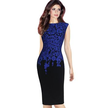 Women Elegant Vintage Floral Crochet Bodycon Pencil Dress Charming Pinup Casual Work Office Prom Evening Party Dress Plus Size