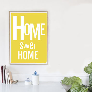 Home sweet home sign, large minimalist art, HOME printable, minimalist poster, Affiche scandinave, yellow art, art print, art prints online