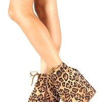 Spike & Studded Lace Up Wedge Ankle Bootie In Brown Leopard Suede/Silver Spike/Silver Studs | Thirteen Vintage