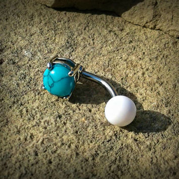 Turquoise Prong Set Belly Button Ring Navel Ring Belly Piercing 14ga 316L Surgical Stainless Steel Body Jewelry