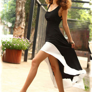 Black Strappy Back Asymmetrical Dress
