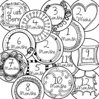 14 Doodle Illustration Drawing Baby Girl Monthly Milestone Onesuit Stickers Newborn Shower Gift
