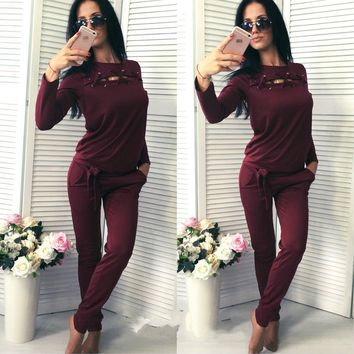 2017 New Arrival Women Spring Cotton Top Pants Two Piece Set Velvet Hoodies Long Sleeve Outfit Elastic Casual Tracksuit
