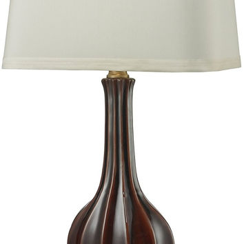 0-020026>1-Light 3-Way LED Table Lamp Red Glaze Antique Brass