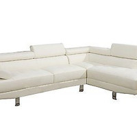 2 Pieces White Faux Leather Sectional Sofa Right Chaise Decor New Free Ship