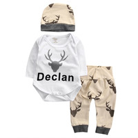 Christmas Clothes Newborn Baby Boy Girl Deer Tops Romper +Pants+ Suit Baby Boy Clothing 3 PCS S20