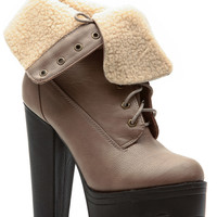 Taupe Faux Leather Fold Over Platform Lug Sole Booties