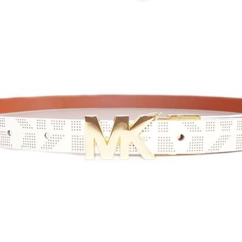 Michael Kors Womens Reversible MK Logo Gold Buckle Vanilla Skinny Thin Belt (M)