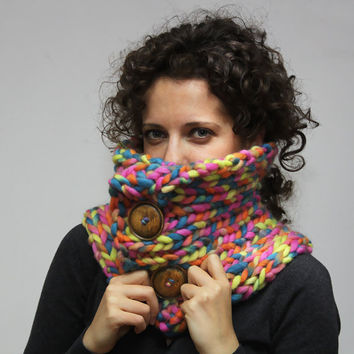 Bulky Multicolor Radiant Pure Wool Neck Warmer by Solandia