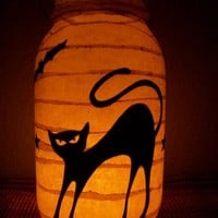 Grungy Primitive Halloween Cat Lantern by RedHedPrims on Etsy