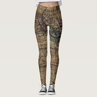 Vintage World Map Abstract Design Leggings