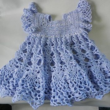 Crocheted Lacey Lavender Dress for Baby or Toddler 12 month