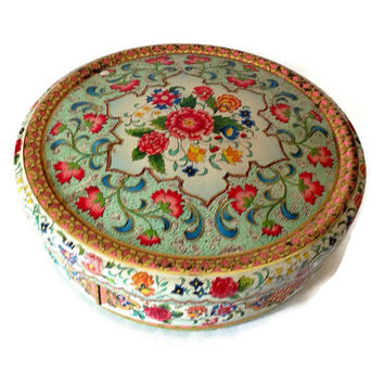Vintage Tin from Holland, Jacobean Design, Colorful Mosaic and Flowers Design, Round with Lid, Sewing Tin, Cottage Chic Tin Box