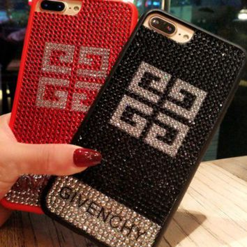 VONEYW7 givenchy is studded with the iphone7 iphone7 mobile phone shell 8plus female luxury big name european and american iphone6s water drill popular logo