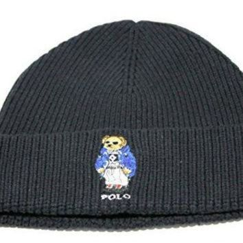 ONETOW Polo Ralph Lauren Adult's Cuff Bear Black Beanie Hat One Size for just $49.99