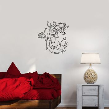 Wall Decal Animal Fox Fantastic Cartoon Fiery Vinyl Sticker Unique Gift (ed785)