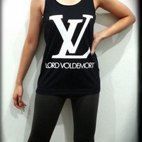 S,M,L,XL - Lord Voldemort White Tone Harry Potter Women Sleeveless Black Tank Top Tanktop Tshirt T Shirt