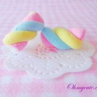 Marshmallow Stud Earrings - Sweet Deco Decoden Cute Kawaii Handmade Miniature Sweet Jewelry