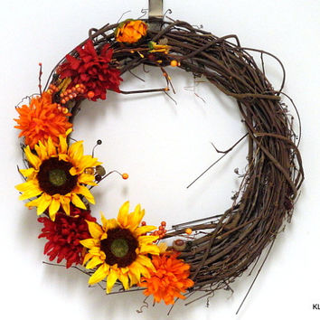 Autumn Grapevine Wreath- Sunflower Wreath- Vine Wreath- Fall Flowers- Autumn Wreath- Fall Wreath