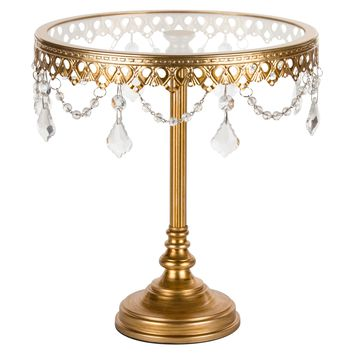 10 Inch Glass-Top Tall Metal Cake Stand with Crystals (Gold)