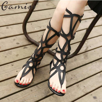 Gamiss Women Sandals Sexy Knee High Summer Shoes Gladiator Sandals Tie String Casual Flats Hollow Out Flip-flop Beach Sandles