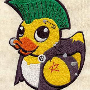 "Single (1)  hand towel EMBROIDERED ""Punk Ducky"" for bathroom duckie / rubber duck"