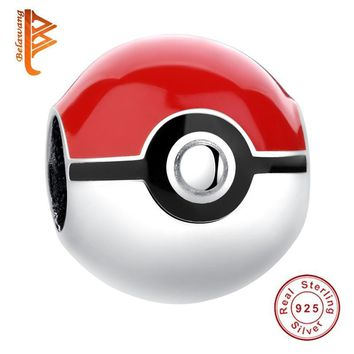 BELAWANG 925 Sterling Silver Pokeball  Red Enamel Bead Charm Fit Original Pandora Charm Bracelet Authentic Jewelry MakingKawaii Pokemon go  AT_89_9